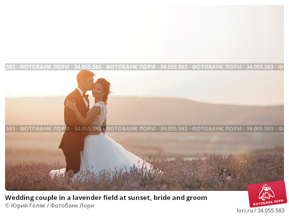 Wedding couple in a lavender field at sunset, bride and groom. Стоковое фото, фотограф Юрий Голяк / Фотобанк Лори