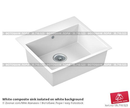 White composite sink isolated on white background. Стоковое фото, фотограф Zoonar.com/Mile Atanasov / easy Fotostock / Фотобанк Лори