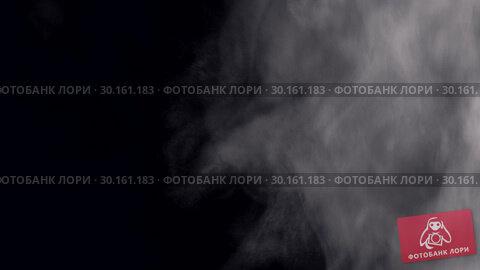 Купить «White steam slowly blowing from the right side from bottom to top. White steam rises light, graceful twists on a black background. White smoke effect.», видеоролик № 30161183, снято 14 февраля 2019 г. (c) Некрасов Андрей / Фотобанк Лори