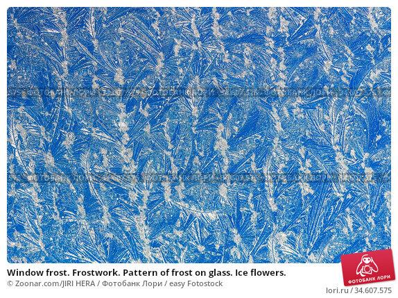 Window frost. Frostwork. Pattern of frost on glass. Ice flowers. Стоковое фото, фотограф Zoonar.com/JIRI HERA / easy Fotostock / Фотобанк Лори