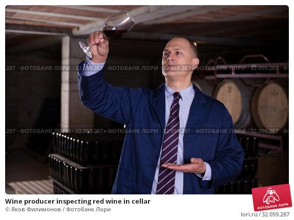 Wine producer inspecting red wine in cellar. Стоковое фото, фотограф Яков Филимонов / Фотобанк Лори