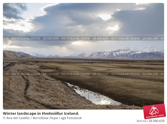 Купить «Winter landscape in Hvolsvöllur Iceland.», фото № 28580639, снято 16 марта 2018 г. (c) age Fotostock / Фотобанк Лори