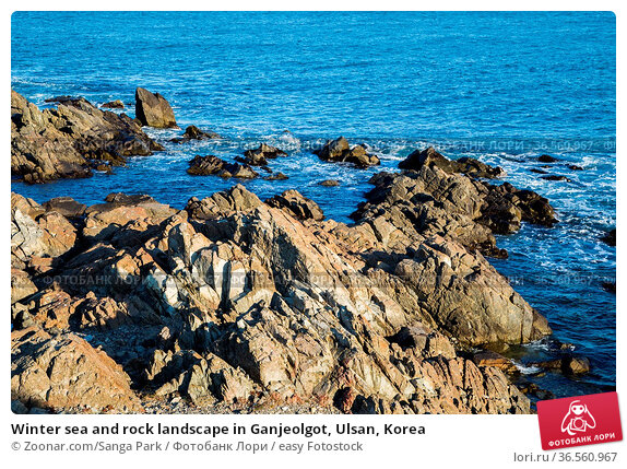Winter sea and rock landscape in Ganjeolgot, Ulsan, Korea. Стоковое фото, фотограф Zoonar.com/Sanga Park / easy Fotostock / Фотобанк Лори