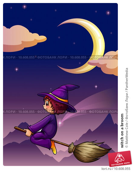 witch on a broom. Стоковая иллюстрация, иллюстратор Matthew Cole / PantherMedia / Фотобанк Лори