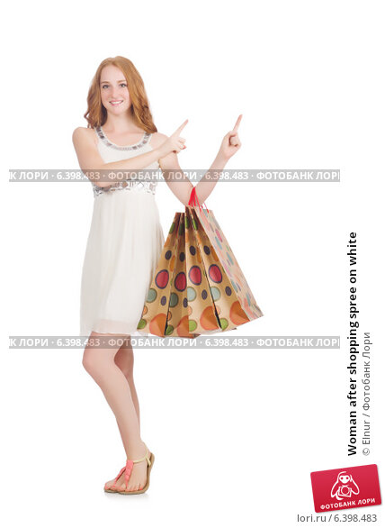 Купить «Woman after shopping spree on white», фото № 6398483, снято 25 июня 2014 г. (c) Elnur / Фотобанк Лори