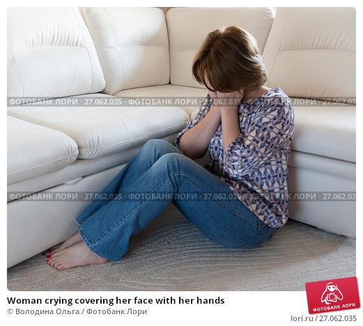 Купить «Woman crying covering her face with her hands», фото № 27062035, снято 8 октября 2017 г. (c) Володина Ольга / Фотобанк Лори