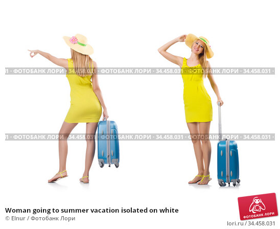 Woman going to summer vacation isolated on white. Стоковое фото, фотограф Elnur / Фотобанк Лори