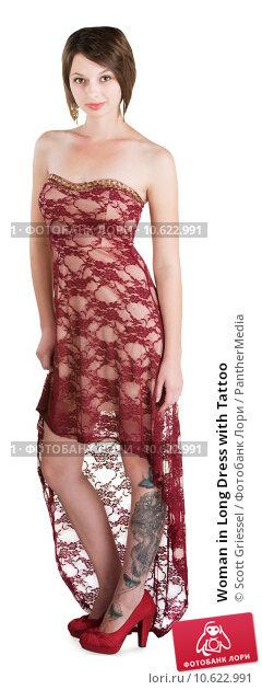 Woman in Long Dress with Tattoo. Стоковое фото, фотограф Scott Griessel / PantherMedia / Фотобанк Лори