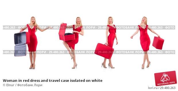 Купить «Woman in red dress and travel case isolated on white», фото № 29480263, снято 30 ноября 2013 г. (c) Elnur / Фотобанк Лори