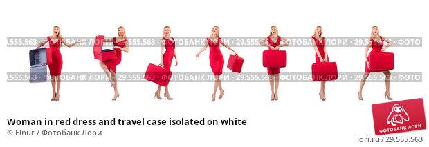 Купить «Woman in red dress and travel case isolated on white», фото № 29555563, снято 30 ноября 2013 г. (c) Elnur / Фотобанк Лори