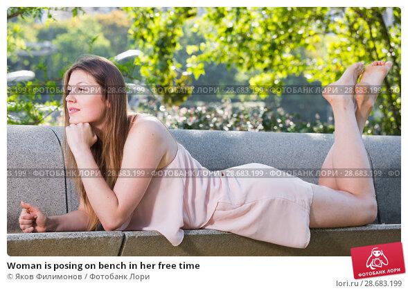 Купить «Woman is posing on bench in her free time», фото № 28683199, снято 10 июня 2017 г. (c) Яков Филимонов / Фотобанк Лори