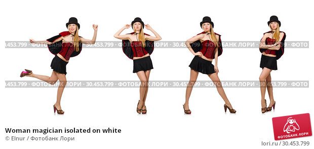Woman magician isolated on white. Стоковое фото, фотограф Elnur / Фотобанк Лори