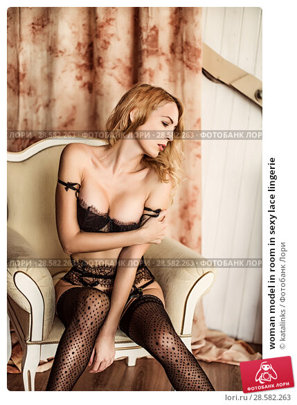 Купить «woman model in room in sexy lace lingerie», фото № 28582263, снято 4 ноября 2017 г. (c) katalinks / Фотобанк Лори