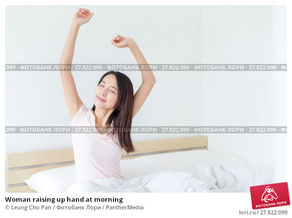 Купить «Woman raising up hand at morning», фото № 27822099, снято 21 февраля 2018 г. (c) PantherMedia / Фотобанк Лори