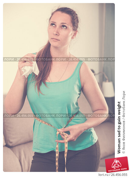 Купить «Woman sad to gain weight», фото № 26456055, снято 21 марта 2017 г. (c) Яков Филимонов / Фотобанк Лори