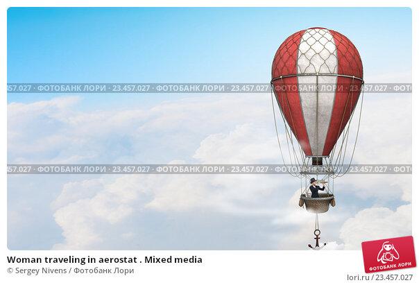 Купить «Woman traveling in aerostat . Mixed media», фото № 23457027, снято 27 мая 2019 г. (c) Sergey Nivens / Фотобанк Лори
