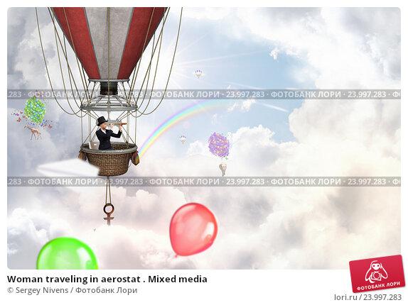 Купить «Woman traveling in aerostat . Mixed media», фото № 23997283, снято 18 мая 2012 г. (c) Sergey Nivens / Фотобанк Лори