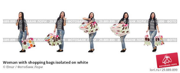 Купить «Woman with shopping bags isolated on white», фото № 29889899, снято 2 мая 2015 г. (c) Elnur / Фотобанк Лори