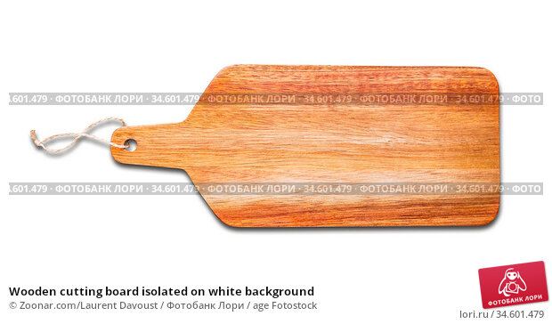 Wooden cutting board isolated on white background. Стоковое фото, фотограф Zoonar.com/Laurent Davoust / age Fotostock / Фотобанк Лори