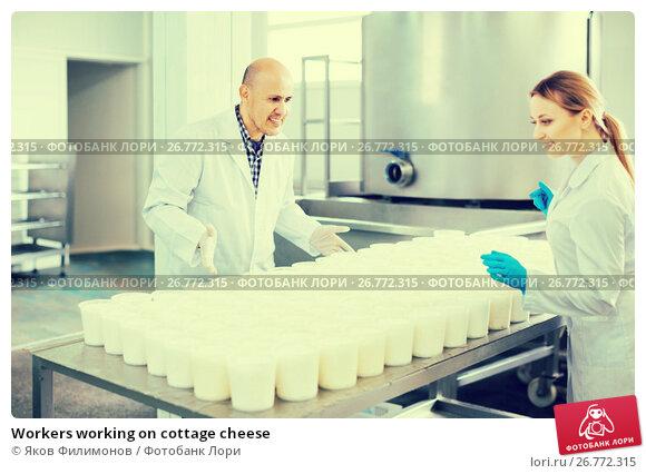 Купить «Workers working on cottage cheese», фото № 26772315, снято 24 ноября 2017 г. (c) Яков Филимонов / Фотобанк Лори