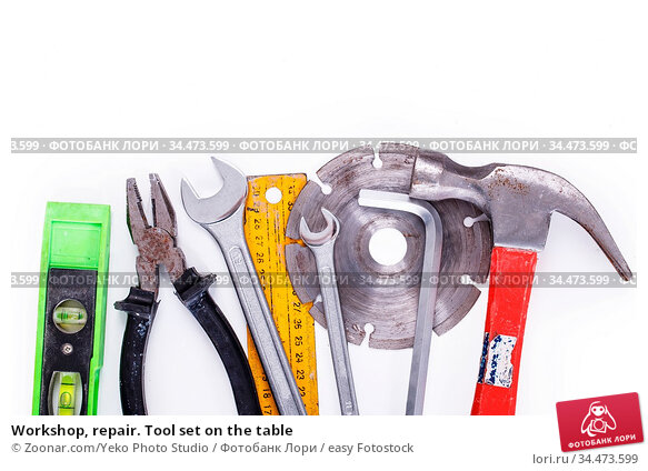 Workshop, repair. Tool set on the table. Стоковое фото, фотограф Zoonar.com/Yeko Photo Studio / easy Fotostock / Фотобанк Лори