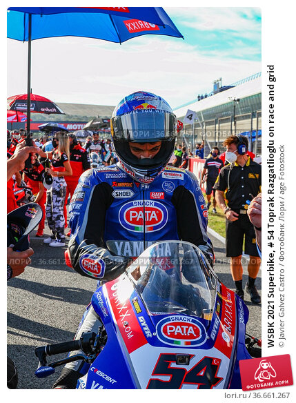 WSBK 2021 Superbike, # 54 Toprak Razgatlioglu on race and grid (2019 год). Редакционное фото, фотограф Javier Galvez Castro / age Fotostock / Фотобанк Лори