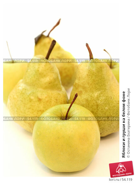 Яблоки и груши на белом фоне, фото № 54119, снято 11 июня 2007 г. (c) Останина Екатерина / Фотобанк Лори