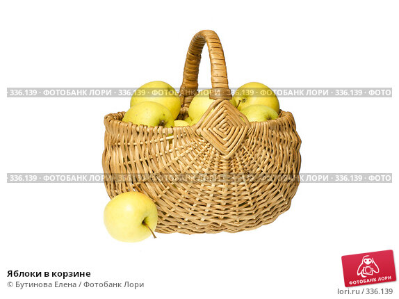 Яблоки в корзине, фото № 336139, снято 24 июня 2008 г. (c) Бутинова Елена / Фотобанк Лори