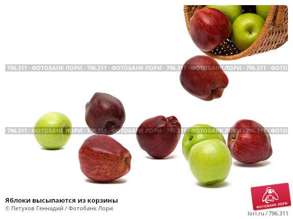Купить «Яблоки высыпаются из корзины», фото № 796311, снято 21 ноября 2008 г. (c) Петухов Геннадий / Фотобанк Лори