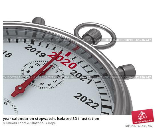 Купить «year calendar on stopwatch. Isolated 3D illustration», иллюстрация № 32236747 (c) Ильин Сергей / Фотобанк Лори