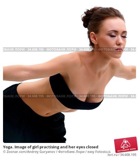 Yoga. Image of girl practising and her eyes closed. Стоковое фото, фотограф Zoonar.com/Andrey Guryanov / easy Fotostock / Фотобанк Лори