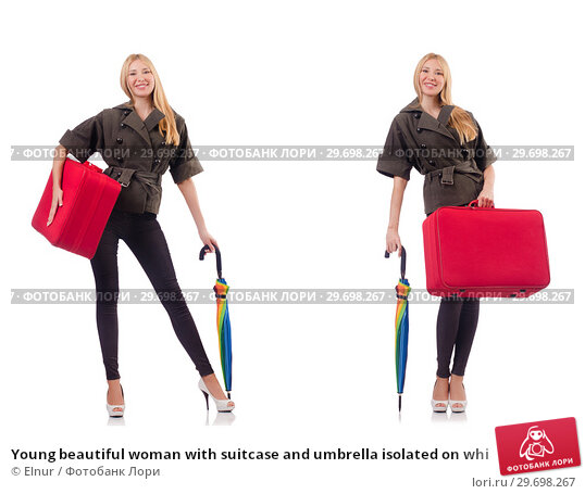 Купить «Young beautiful woman with suitcase and umbrella isolated on whi», фото № 29698267, снято 19 марта 2019 г. (c) Elnur / Фотобанк Лори