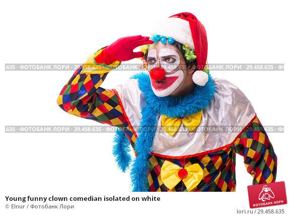 Купить «Young funny clown comedian isolated on white», фото № 29458635, снято 20 июля 2018 г. (c) Elnur / Фотобанк Лори