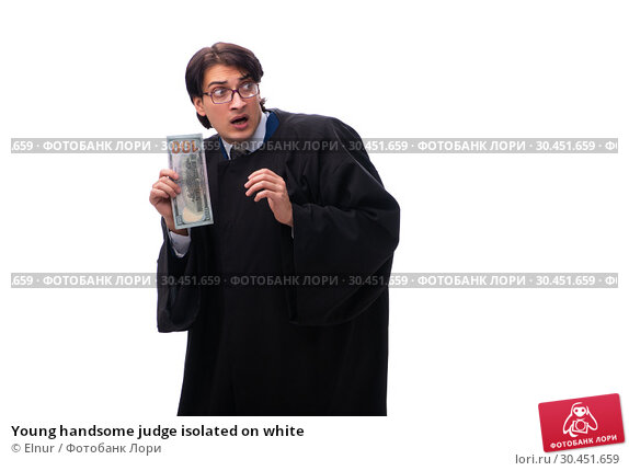 Young handsome judge isolated on white. Стоковое фото, фотограф Elnur / Фотобанк Лори