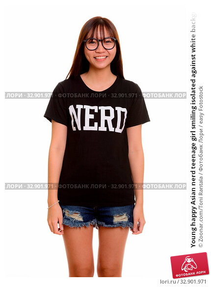 Young happy Asian nerd teenage girl smiling isolated against white background. Стоковое фото, фотограф Zoonar.com/Toni Rantala / easy Fotostock / Фотобанк Лори