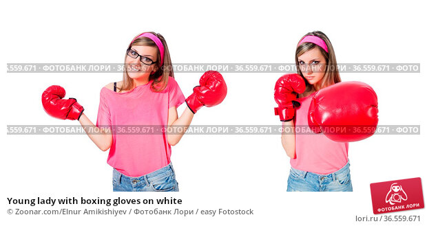 Young lady with boxing gloves on white. Стоковое фото, фотограф Zoonar.com/Elnur Amikishiyev / easy Fotostock / Фотобанк Лори