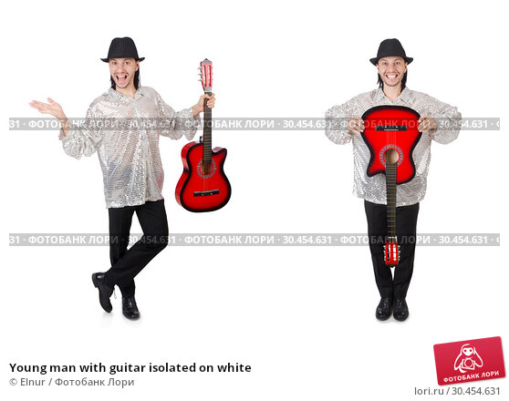 Young man with guitar isolated on white. Стоковое фото, фотограф Elnur / Фотобанк Лори