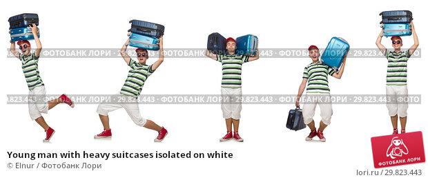 Купить «Young man with heavy suitcases isolated on white», фото № 29823443, снято 20 марта 2019 г. (c) Elnur / Фотобанк Лори
