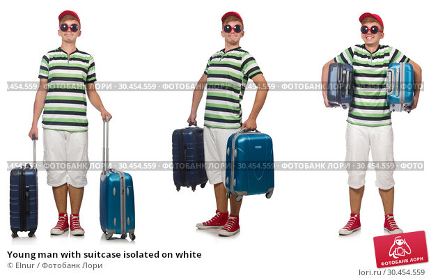 Young man with suitcase isolated on white. Стоковое фото, фотограф Elnur / Фотобанк Лори