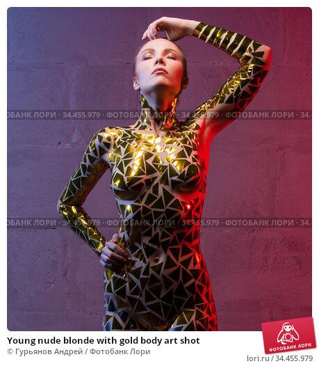 Young nude blonde with gold body art shot. Стоковое фото, фотограф Гурьянов Андрей / Фотобанк Лори
