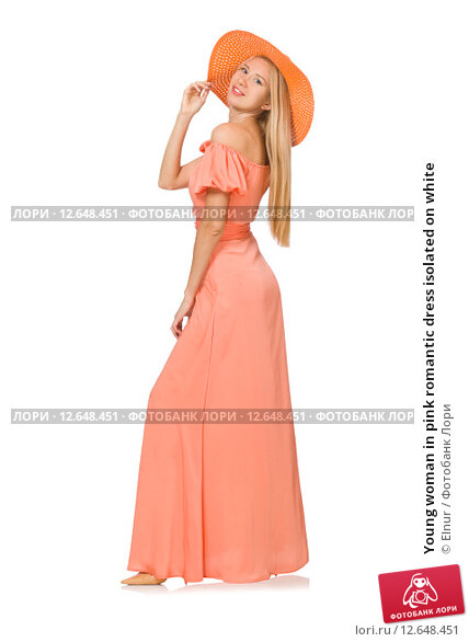 Young woman in pink romantic dress isolated on white. Стоковое фото, фотограф Elnur / Фотобанк Лори