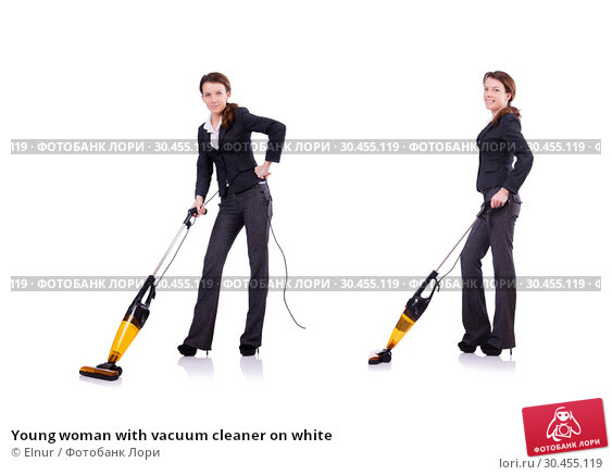 Young woman with vacuum cleaner on white. Стоковое фото, фотограф Elnur / Фотобанк Лори