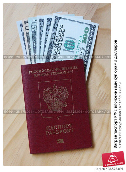 Купить «Загранпаспорт РФ с вложенными купюрами долларов», фото № 28575091, снято 13 июня 2018 г. (c) Евгений Бусурманов / Фотобанк Лори