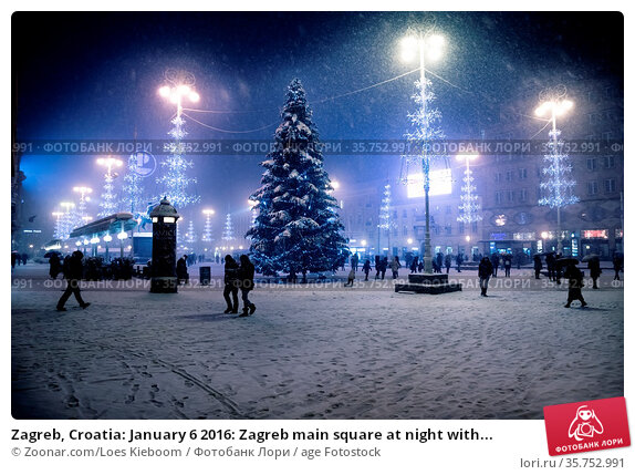 Zagreb, Croatia: January 6 2016: Zagreb main square at night with... Стоковое фото, фотограф Zoonar.com/Loes Kieboom / age Fotostock / Фотобанк Лори