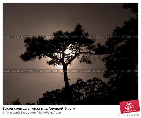 Заход солнца в горах над Алупкой. Крым, фото № 277295, снято 7 мая 2005 г. (c) Анатолий Заводсков / Фотобанк Лори