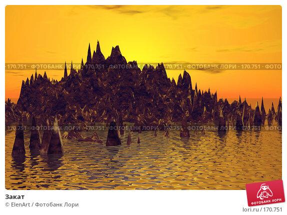 Закат, иллюстрация № 170751 (c) ElenArt / Фотобанк Лори
