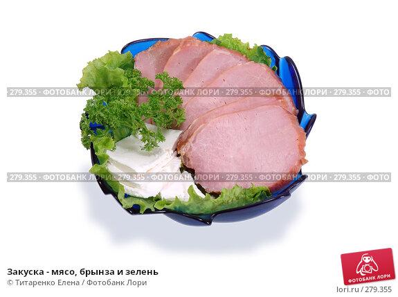 Закуска - мясо, брынза и зелень, фото № 279355, снято 6 апреля 2008 г. (c) Титаренко Елена / Фотобанк Лори