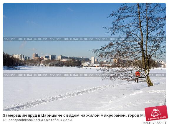 Замерзший пруд в Царицыне с видом на жилой микрорайон, город Москва, эксклюзивное фото № 158111, снято 16 февраля 2007 г. (c) Солодовникова Елена / Фотобанк Лори