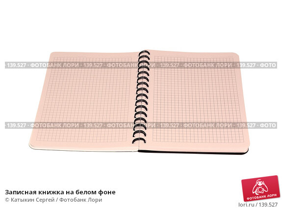 Записная книжка на белом фоне, фото № 139527, снято 2 ноября 2007 г. (c) Катыкин Сергей / Фотобанк Лори