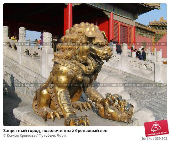 Купить «Запретный город, позолоченный бронзовый лев», фото № 339103, снято 11 февраля 2006 г. (c) Ксения Крылова / Фотобанк Лори